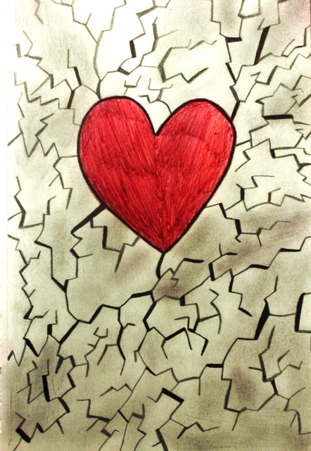 The shattered area around the heart resembles the damage that has already occurred, and can no longer be repaired. The heart is unscathed because through the hardships, there is still hope that everything will be alright.