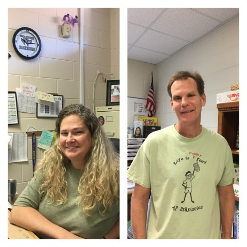 "Mrs. Shannon Marks is pictured on the left, and Mr. Mark Fisher is pictured on the right with his, ""Life is- probably - Good"" shirt for his AP Statistics class."