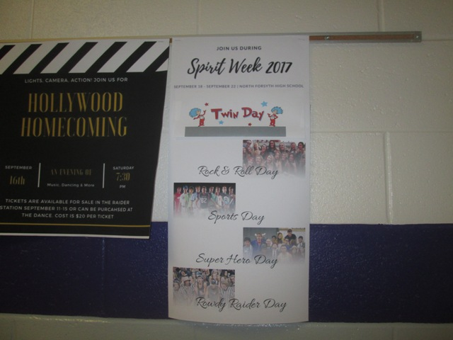 Posters of the Spirit Week themes have been posted all over North by the student council. Previously, Monday was Senior Citizen day, but out of respect, it was changed.