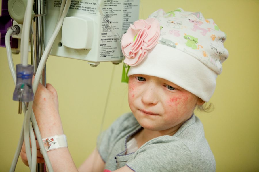 The child, pictured above, underwent harsh chemotherapy treatments, leaving her nauseated, tired, and gloomy.
