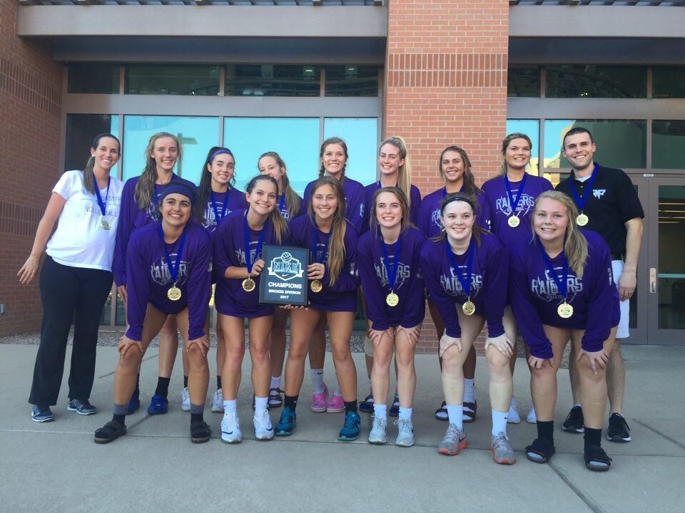Lady Raiders pose in front of the auditorium in Arizona where they won their final competition. Standing with their bronze medal, the team returned prepared to continue their reign for the final end of the season. Photo used with permission from NFHS Volleyball Twitter.