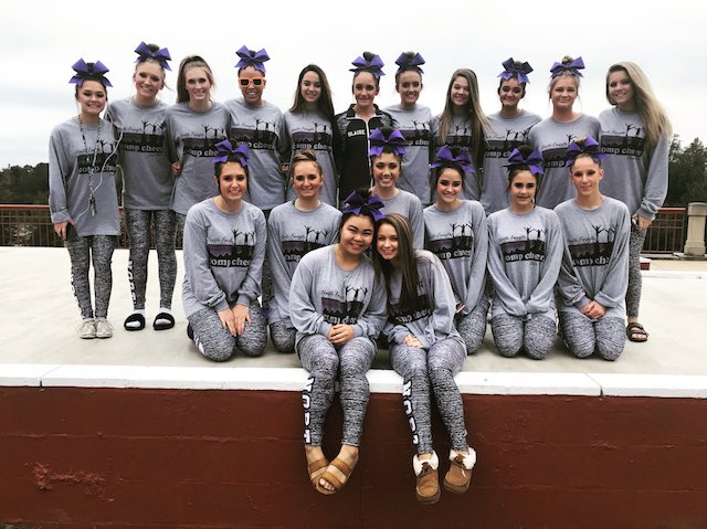 The Raider's Competition Cheer squad pose after receiving their title of sixth in the state, breaking a new record for the school. Photo used with permission from North Forsyth Twitter, @NForsythHigh.