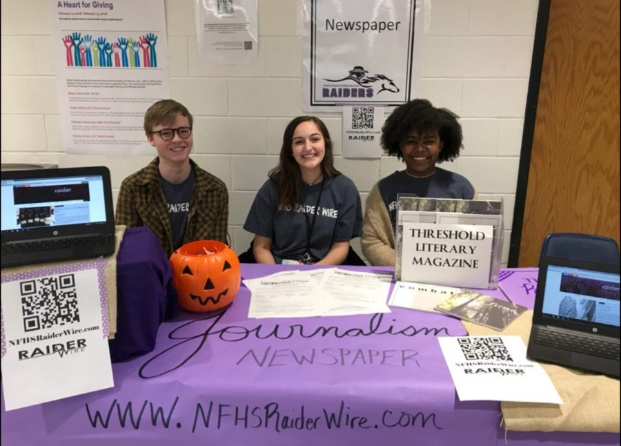 The journalism table was set up and ready to recruit new staff members for the 2018-2019 school year!