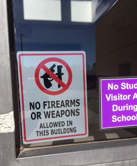 Georgia schools have received a number of terroristic threats by students and teachers in the wake of the Parkland shooting.  Weapons are strictly prohibited from North Forsyth High School and other schools in this state.