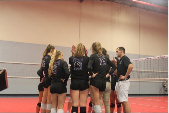 Team huddle during game against Lassiter