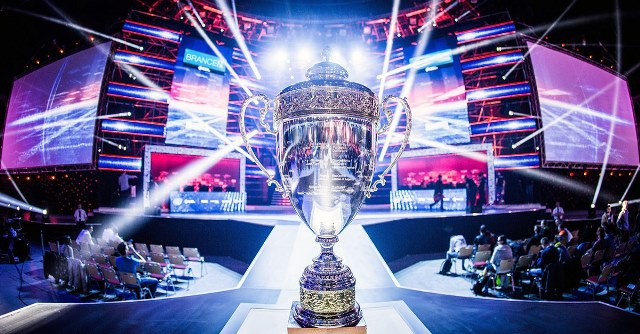 A photo of an Esports competition and its trophy prize. (Photo credited to: IBM corporation)