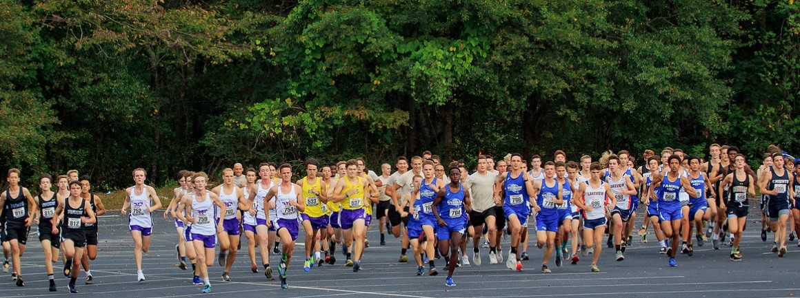 The cross country boys' teams begin their race at Riverside Military Academy. (Photo Credits: Lisa Sines and Timber Studio Photography.)