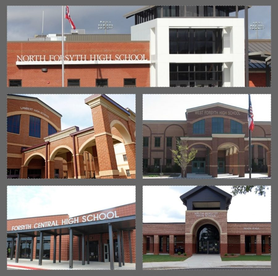All five major high schools in Forsyth County passed the SAT with flying colors. The average rounded out to 1167. These photos were taken from their school websites through https://www.forsyth.k12.ga.us/.