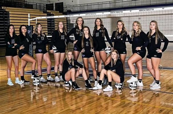 The NFHS varsity volleyball team worked together to grow and rebuild their team after losing nine seniors the previous season. The team did not have the stats they wanted; however, they worked well together and bonded more than ever before. [Photo by maxpreps.com]