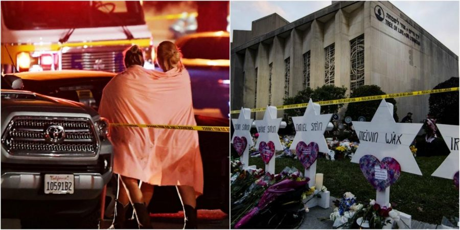 Both pictures display the mourning and shock caused by the two shootings that took place in the United States. (Photo Credits: (left) Mark J from the website The Cut. (Right) Matt Rourke from WTMV website.)