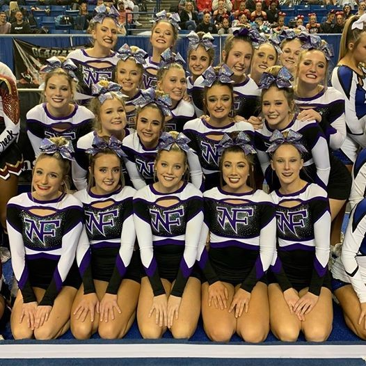 NFHS competition cheer team at state competition this year. (Credit to NFHS Competition Cheer Facebook page.)