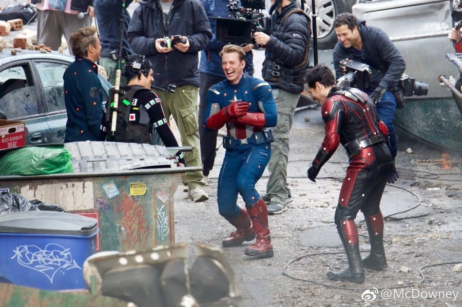 "On the set of Avengers 4, Iron Man (Robert Downey Jr.), Captain America (Chris Evans), Ant-Man (Paul Rudd) and Hulk (Mark Ruffalo) laugh amidst the ruins of the old battle of New York from ""The Avengers."" (Photo from Adventures in Poor Taste.)"