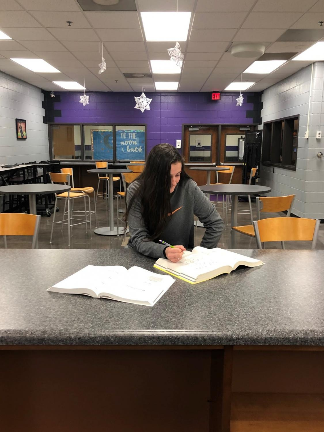 North Forsyth Senior Ashlyn Bailey is studying for her SAT exam.