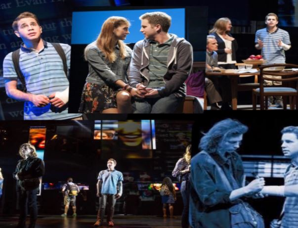 Dear+Evan+Hansen+is+an+inspirational+musical.+This+is+a+collage+of+the+show%E2%80%99s+memorable+moments.+%28Taken+from+google+images%29+