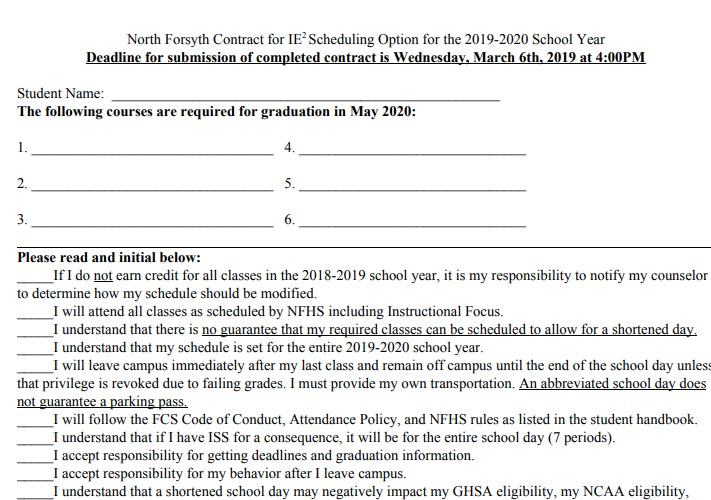 Students, when filling out an IE2 application, are allowed to pick a maximum of three classes to exempt senior year. They may choose 1st, 5th, 6th or 7th periods.