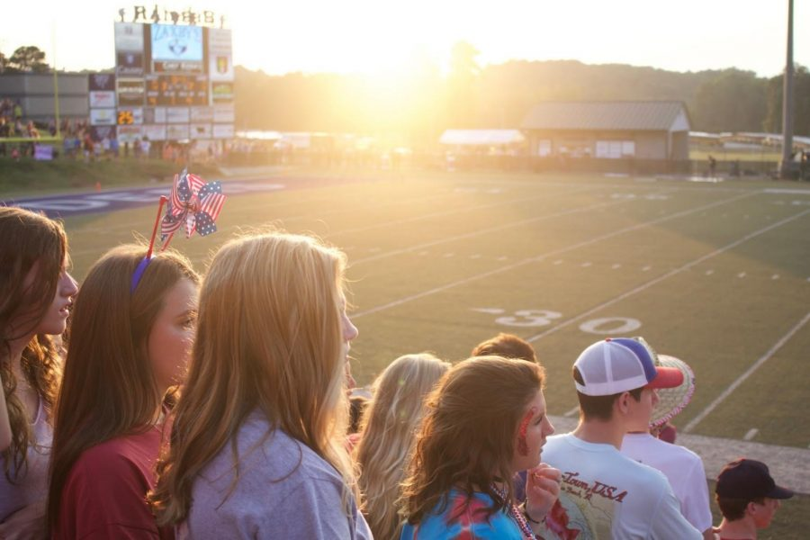The+sun+sets+over+Raider+Valley+as+Seniors+experience+their+last+football+season+and++school+year.%0A