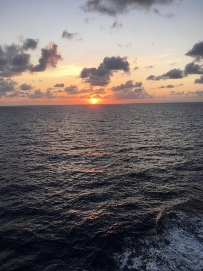 The Caribbean Sea as the sun sets over its waters. Photo by David Simmons.