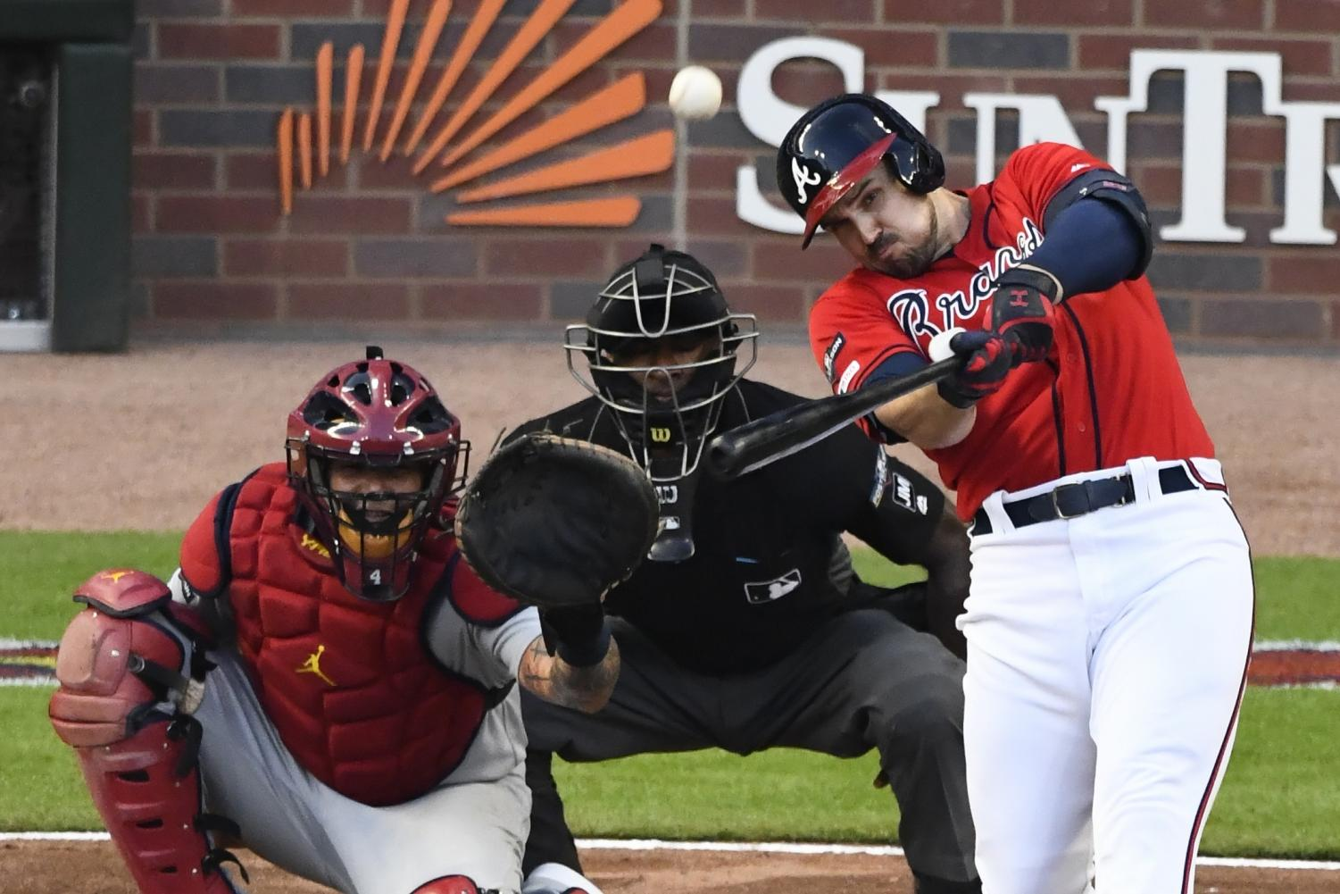 Adam Duvall bats for the Braves, but couldn't manage a homerun against the Cardinals in game 5 of the series playoffs. Atlanta lost 13-1 and was knocked from the playoffs.  Photo by: BusinessInsider.