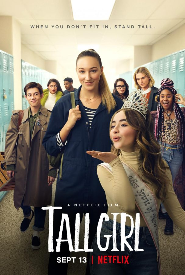 """Tall Girl"" movie cover featuring Ava Michelle, Sabrina Carpenter, Griffin Gluck, and Luke Eisner as the main characters for the Netflix Original Movie."