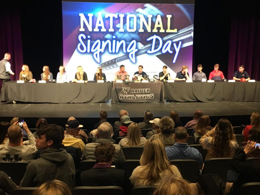 North%E2%80%99s+athletes+ready+to+sign+to+their+respective+colleges.+Photo+by+Jess+Dillon.