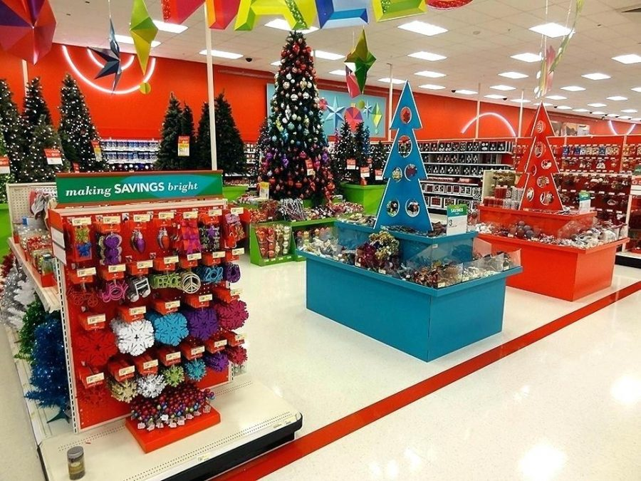 Holiday decor inside a Target.