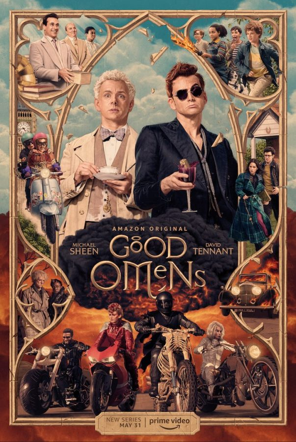 The Good Omens TV poster with all characters and important details.