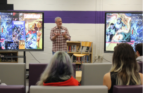 Students spend their Wellness Wednesday learning about comic book writing from a local comic book author Robert Venditti
