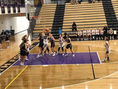 The JV Raiders making a basket against West during the Jan. 17 game.