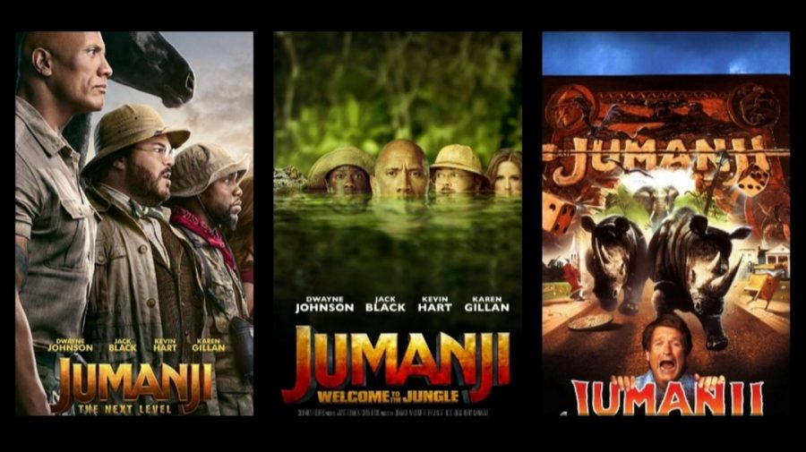 "This is a collage of the movie posters from each ""Jumanji"" movie. Old to New; Right to Left."