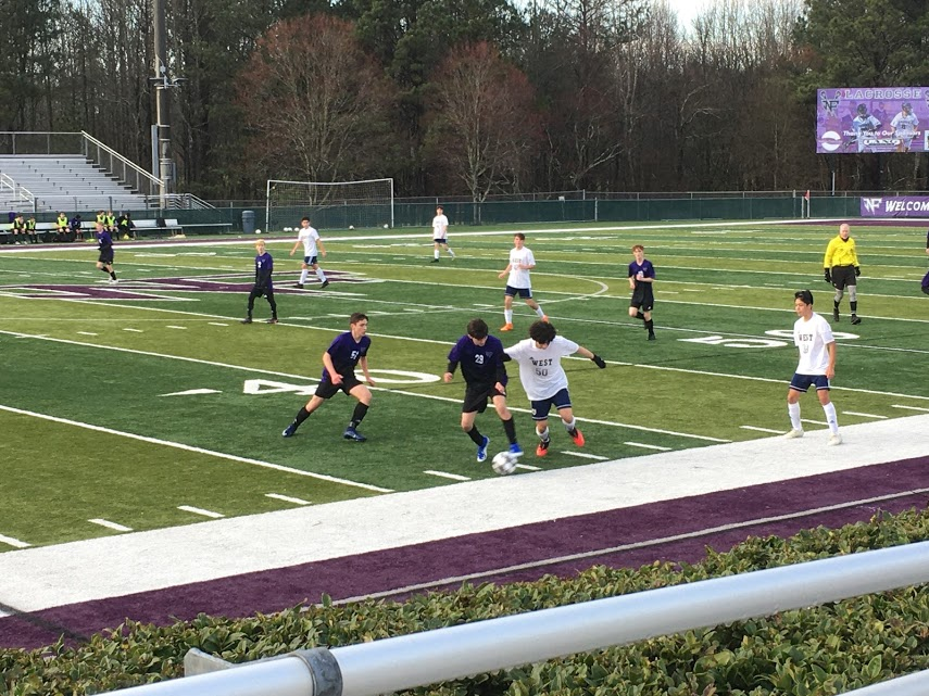 North's JV boys soccer team played a great game against West, showing excellent teamwork and sportsmanship despite the loss (Photo by: Emma Simmons)