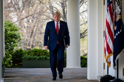 President Trump provided a briefing on the current COVID-19 situation on March 29 in the White House Rose Garden. Mr. Trump announced that he will be extending social distancing guidelines through April 30. Photo by Pete Marovich for the New York Times.