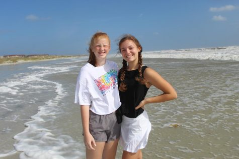 Sophomores Erin Collins and Mackenzie Clark at St. Augustine Beach, Fla. Photo by: Elizabeth Wood