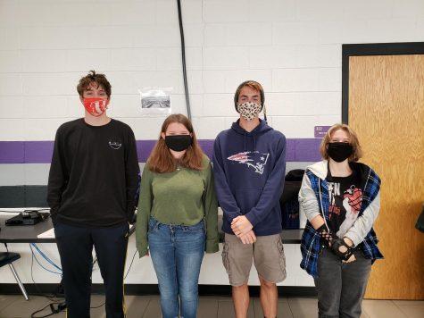 NFHS Raiders Andrew Barger (senior), Rachel Belisle (senior), Zackery Bethune (senior), and Jewel Reynolds (junior) are rocking their different styles of masks. Photo by: Cynda Allen.