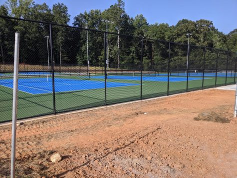 Matt Community Park's new tennis courts are almost complete. The courts are currently not accessible, but the county hopes for them to be soon. Photo by Imogene Ragan