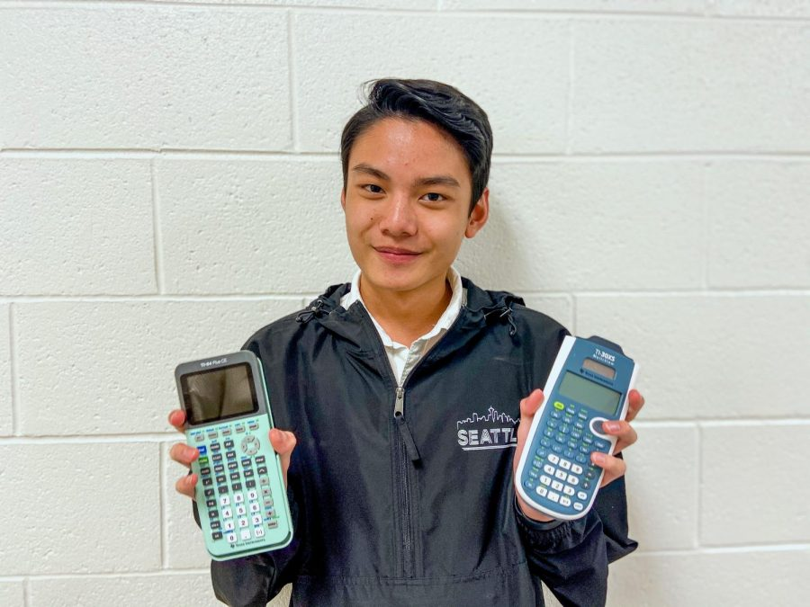 Sophomore+Shawn+Chansipaeng+displays+two+commonly+owned+calculators+that+are+accepted+by+the+College+Board.+On+the+left%2C+Chansipaeng+holds+the+TI-84+Plus+CE+calculator%2C+and+on+the+right%2C+he+has+the+TI-30XS+Multiview+in+hand.+Photo+by+Sarah+Treusch%0A