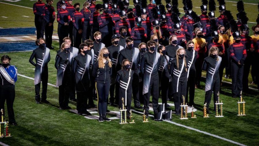 The marching band officers received their ratings and awards during the Gold Division award ceremony. Photo by Shawn Howell.