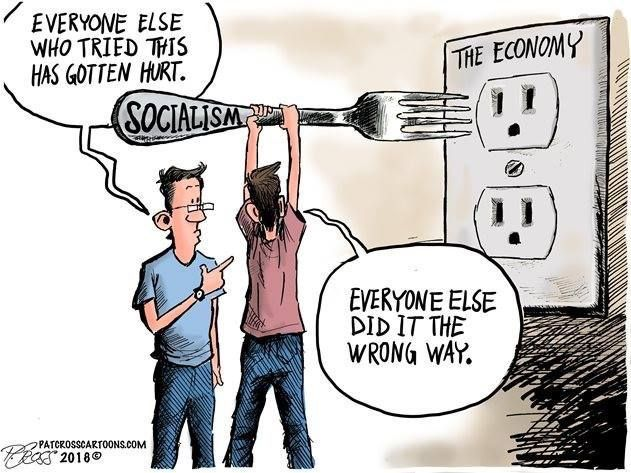 Political cartoon showing the know all mindset of socialism. Photo from Pinterest.
