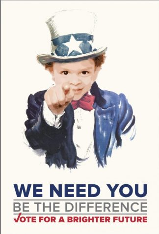 The famous Uncle Sam photo urging people to vote with a twist. The face of a baby is portrayed to show how voting influences future generations. Photo from aiga.org.