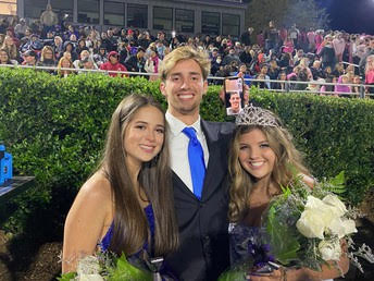 During halftime of the Homecoming game in Raider Valley on Friday, Oct. 30, seniors Ella Hill and Will Riley were crowned king and queen for the 2020-2021 school year. Carmella Santoriello and Connor Sosebee were also crowned as the first runner up couple. Photo courtesy of NFHS.