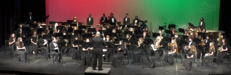 A photo of the performance of the Concert Band. Photo provided by the NFHS Concert Band Holiday Concert livestream.