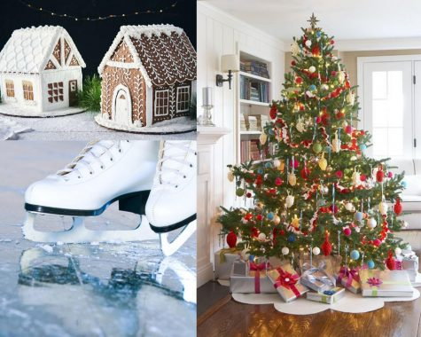 There are many activities to do with family and friends during the holidays such as skating, building gingerbread houses and decorating Christmas trees. Photo compilation by Imogene Ragan.