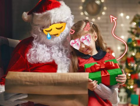 Greedy children tell Santa what they want for Christmas without care for Santa. They only care about the gifts.