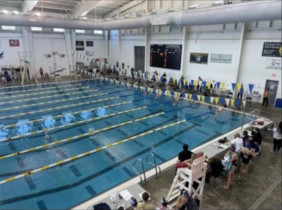 The Cumming Aquatic Center is where most of the swim meets are held for North Forsyth's swim teams. Photo from Abby Beyers