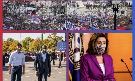 The top of the picture is pro-Trump riots storming the Capitol Building. The bottom left is senator Jon Ossoff and Raphael Warnock. Bottom right Nancy Pelosi announcing her impeachment for Trump with the 25th amendment.