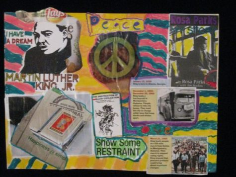 Elementary school student in third grade celebrates by creating a collage of multiple examples of Civil Rights Movements. (Photo by Wendy Avon)