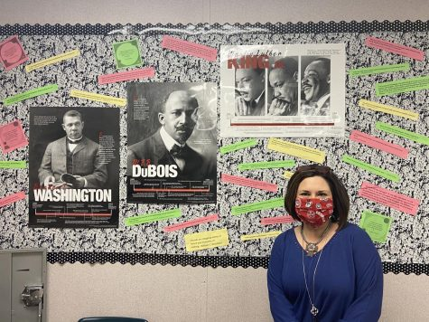 Mrs. Pilling, Sponsor of National Honor Society and Teacher of World History and AP Human Geography, posted on her wall a collection of images of iconic Civil Rights activists and quotes for all of her students to see in honor of Black History Month. (Photo by Sarah Treusch)