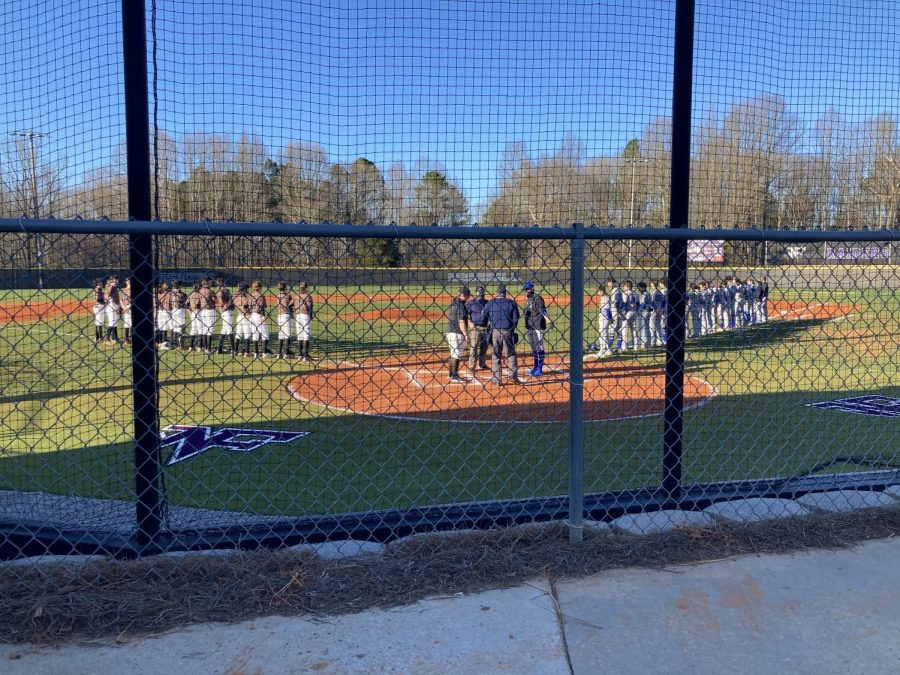 Both teams prepare to face off in their latest game. Photo by Emma Simmons