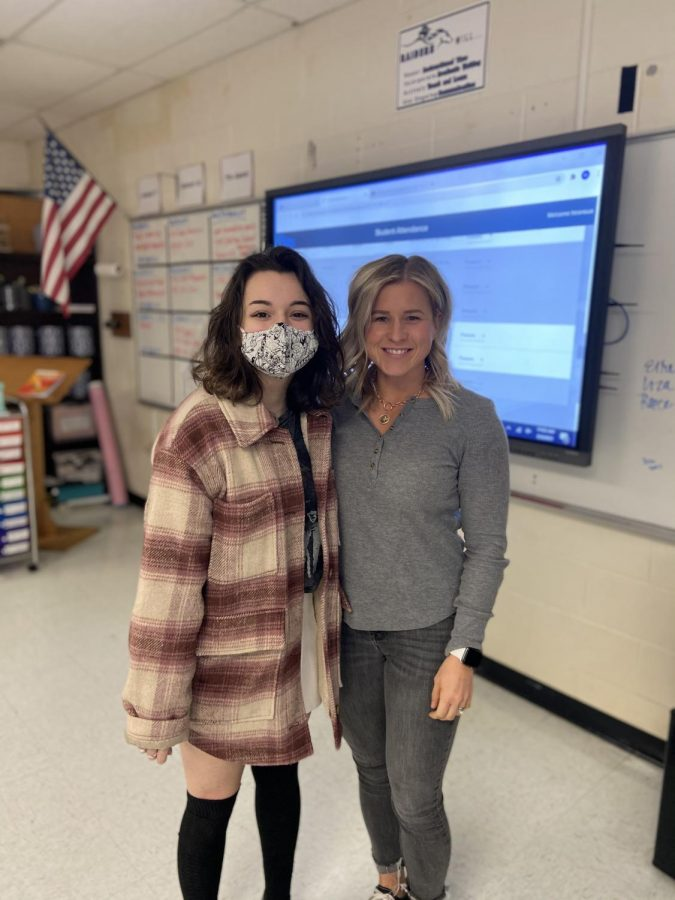 Mrs.+Transue+thanks+sophomore+Liv+Ritacco+for+adopting+her+as+a+teacher+during+a+Student+Council+meeting.+Photo+by+Sarah+Treusch.