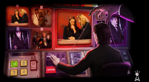 The episode two loading screen. We see Alex being moved by an anonymous puppeteer as he edits the news. Source: Not For Broadcast