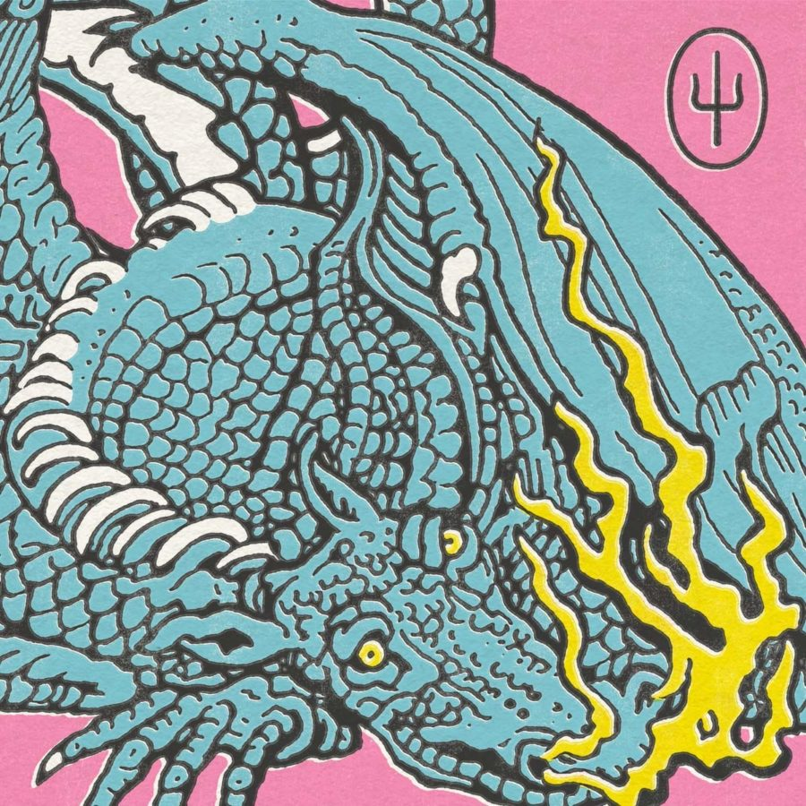 Scaled and Icy's cover art, featuring Trash the Dragon. Album art by Brandon Rike.